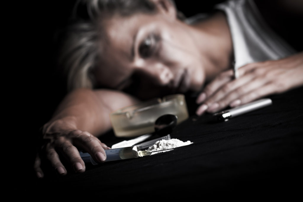 A woman is numb from cocaine use
